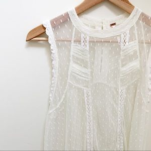 Free people white sheer lace sleeveless blouse M